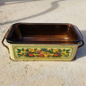 Vintage Teleflora Pyrex pan and stand